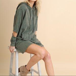 Olive Mineral Wash Hoodie Dress